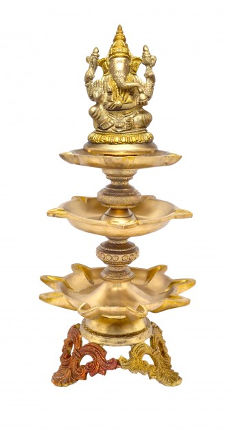 Ganesha Design Nineteen Wick Brass Oil Lamp Diya