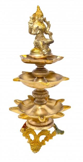 Laxmi Design Nineteen Wick Brass Oil Lamp Diya