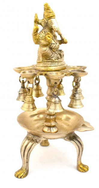 Ganesha 8 Wick Oil Diya with Bells