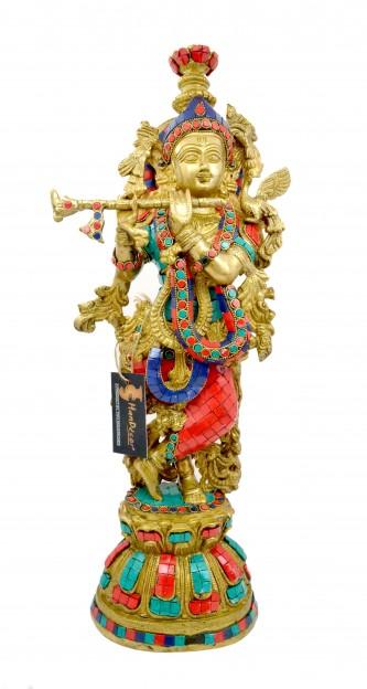 Brass Murli Krishna Gemstone Statue 21 Inches
