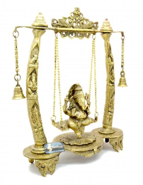 Handcrafted Tuskar Design Ganesha on Swing Jhoola Showpiece