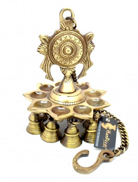 Chakra Design 9 Oil Wick Brass Hanging Diya