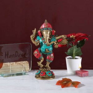 Brass Dancing Ganesha Gemstone Showpiece