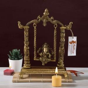 Handcrafted Ethnic Pillar Design Ganesha on Swing Jhoola Premium Brass Showpiece