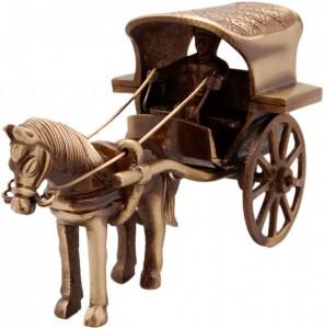 Two Moustaches Horse Cart Brass Showpiece