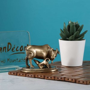 Brass Kamdhenu Cow and Calf