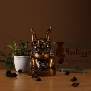 Laughing Buddha with Hands Raised Copper Brown Showpiece