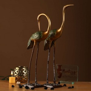 Two Moustaches Love Cranes Pair Brass Showpiece