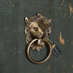 Two Moustaches Lion Mouth Brass Door Knocker
