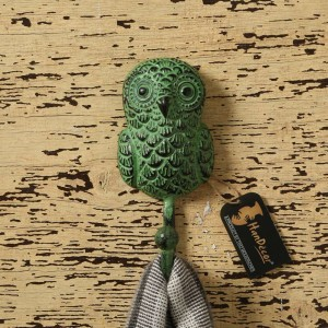 Rustic Owl Design Key Hook - Teal Green