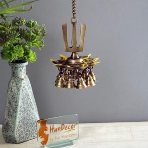 Namah Design 9 Oil Wick Brass Hanging Diya