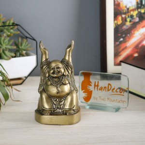 Laughing Buddha with Hands Raised Antique Yellow Showpiece