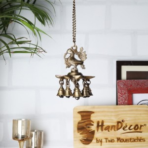 Two Moustaches Peacock Hanging Brass Diya with Bells