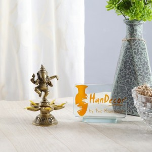 Ganesha Design Five Oil Wick Brass Diya
