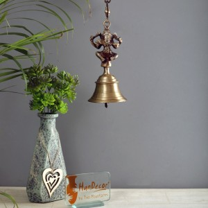 Vintage Brass Temple Bell With Ganesha On Chain