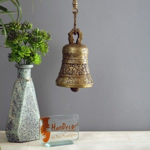 Ethnic Indian Gods Engraved on Brass Hanging Bell