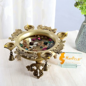 Peacock Design Brass Urli with Four Diyas