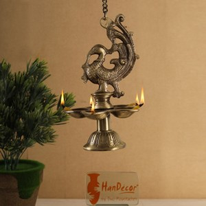 Peacock Design Five Wick Brass Oil Lamp Hanging Diya