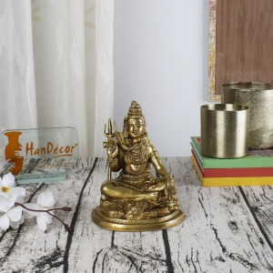 Shiva Meditating Brass Statue