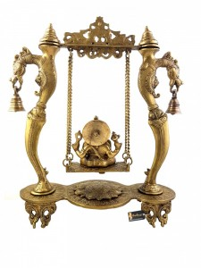 Dragon Frame Design Brass Ganesha on Swing Jhoola Showpiece