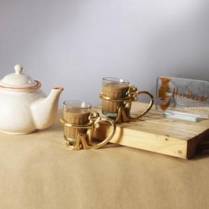 Brass Monkey Tea Cup Holder Glass Pair - Set of 2 (2 Brass Holders & 2 Glass Set) Indian Tea Glass Holder, Kitchen Decor, Chai Cup Holder