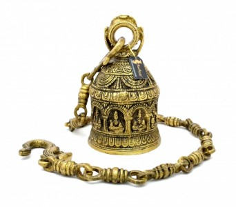 Ethnic Handcrafted Ganesha on Brass Hanging Bell - Antique Yellow