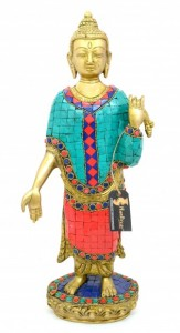 Buddha Standing Gemstone Brass Showpiece
