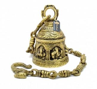 Ganesha Design Brass Hanging Bell Antique Yellow