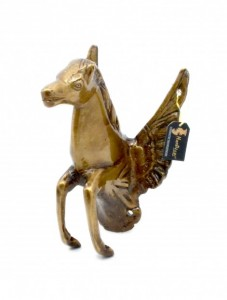 Flying Angel Horse Brass Wall Hanging - Brown