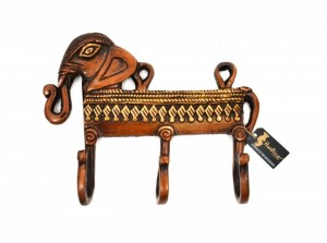 Multicolored Ethnic Elephant Design Key Holder