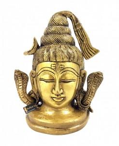 Shiva Head with Sheshnaag Brass Statue