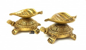 Leaf Design Brass Diya Over Tortoise Base (Set of 2)