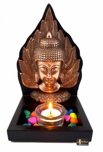Buddha on Leaf Design Tea Light Holder Décor - Copper Finish