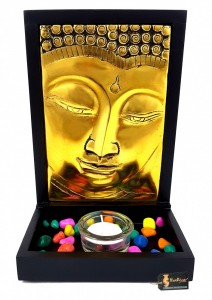 Buddha Design Tea Light Holder Décor - Gold Finish