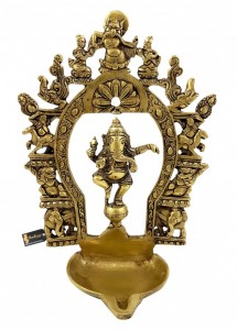Ethnic Indian Carving Brass Dancing Ganesha Diya with Prabhavali Frame