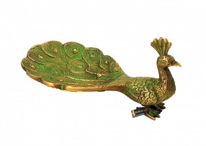 Peacock Design Brass Multipurpose Visiting Card Holder/Dry Fruit Tray - Multicolored