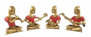 Brass Musical Ladies Gemstone Showpieces - Set of 4