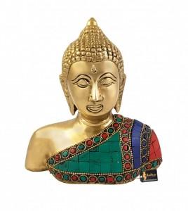 Gemstone Buddha Bust Brass Showpiece