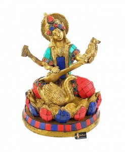Gemstone Goddess Saraswati Brass Idol Statue