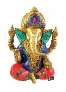 Gemstone Chaturbhuja Ganesha Brass Statue