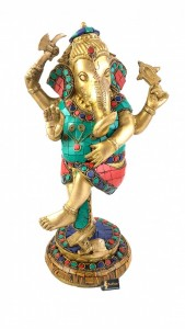 Brass Dancing Ganesha 12 Inches Gemstone Statue