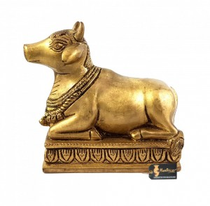 Handcrafted Brass Nandi Statue Over Base