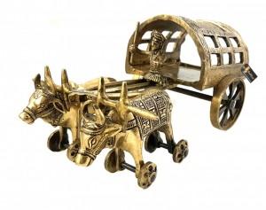 Traditional Village Bullock Cart 11 Inches Brass Showpiece