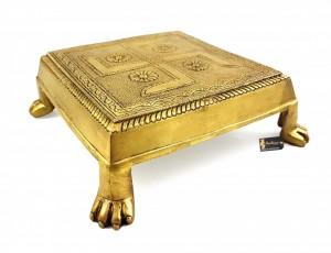Lion Pillar Design Swastika Engraved Brass 7.5 Inches Chowki