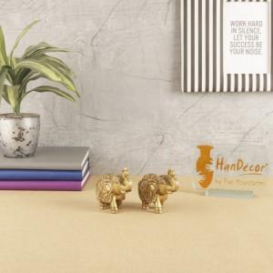 Handmade Ethnic Indian 3 Inches Brass Elephant Pair Decor Showpiece