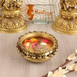 Brass Urli Traditional Bowl with Bells Showpiece