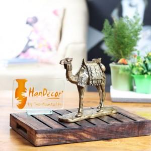 Brass Camel on Base Décor Showpiece