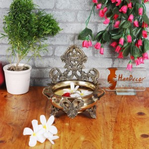 Ethnic Carved Brass 7 Inches Decor Urli Bowl