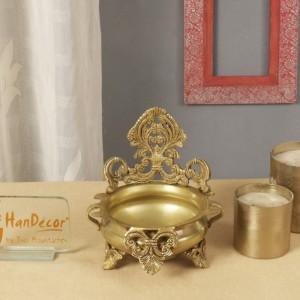Ethnic Carved Brass 7 Inches Decor Urli Bowl (Golden)