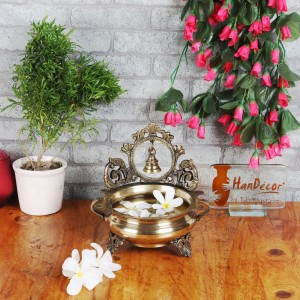 Ethnic Carved 7 Inches Brass Decor Urli Bowl with Bell